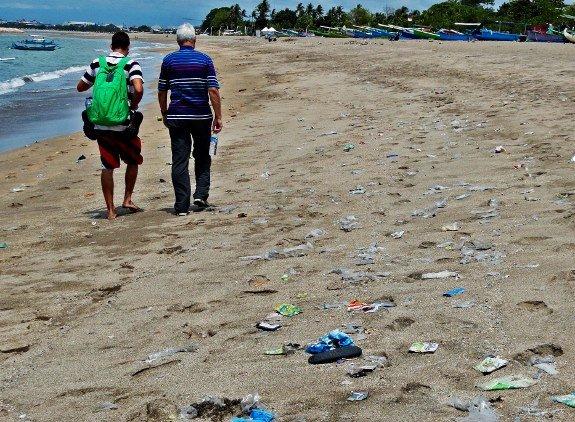 kuta beach bali trash