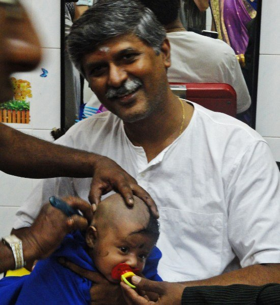 We witness mundan, a Hindu head-shaving ceremony