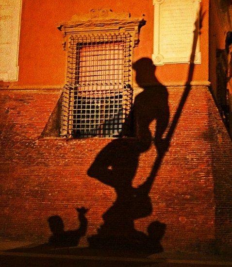 Bologna Neptune Statue shadow