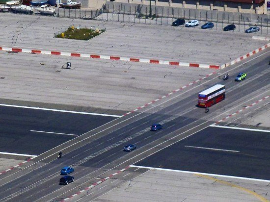 Gibraltar Airport cars crossing runway