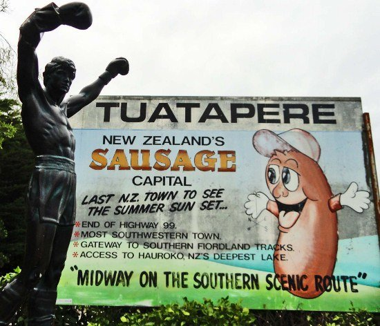 New Zealand road trip Tuatapere sausage sign