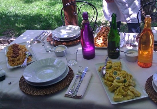 Pasta lunch al fresco