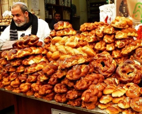 Food in Israel Yehuda Mehane Market Jerusalem challah bread