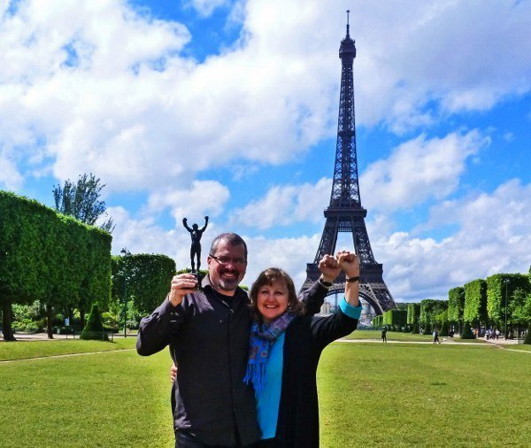 Eiffel Tower Rocky statue RTW travel