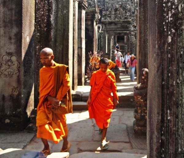 Angkor Bayon temple monks