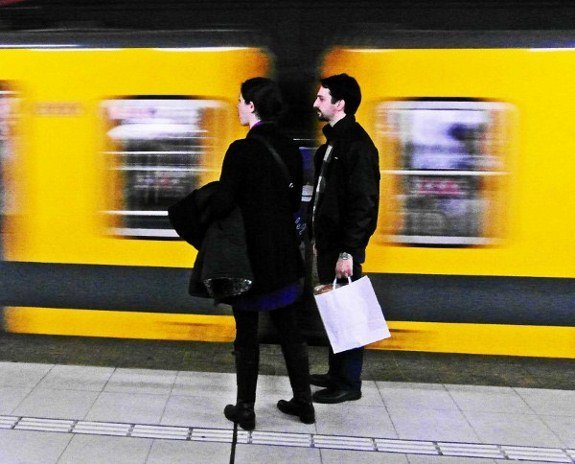 Buenos Aires subte subway two people
