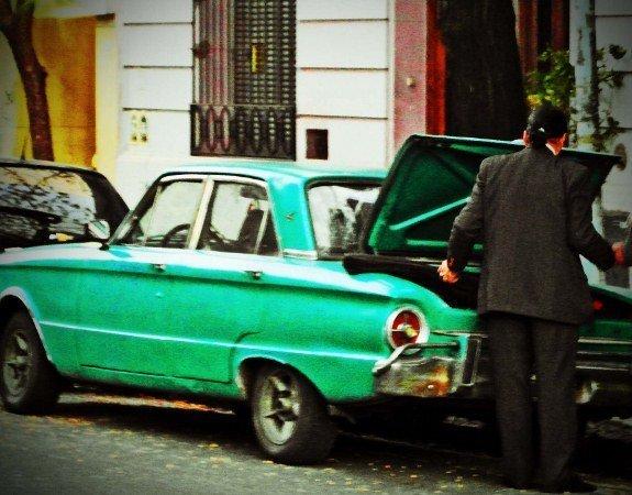 Buenos Aires vintage car green falcon