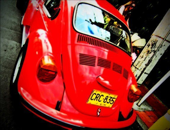 Colombia Bogota vintage orange VW beetle_