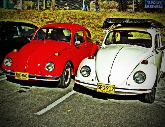 Colombia Bogota white and orange vintage VW beetle