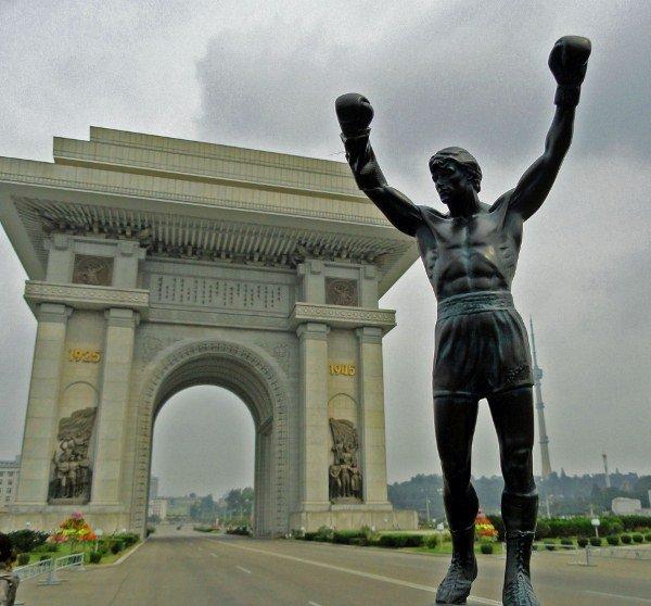 Rocky statue Arch of Triumph North Korea