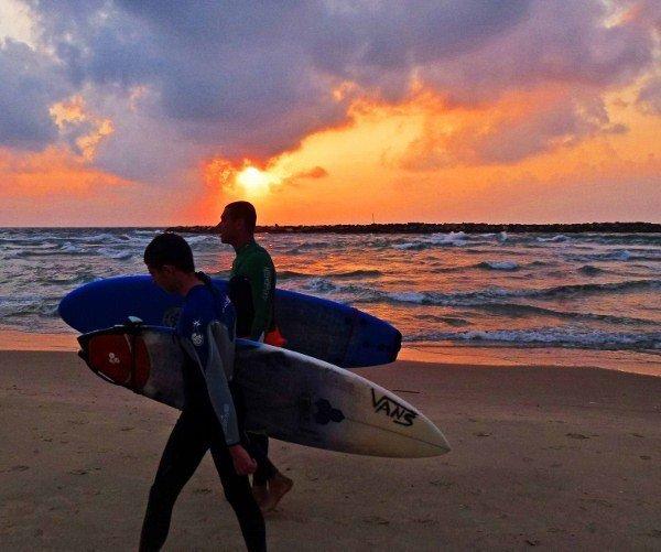 surfing in Tel Aviv