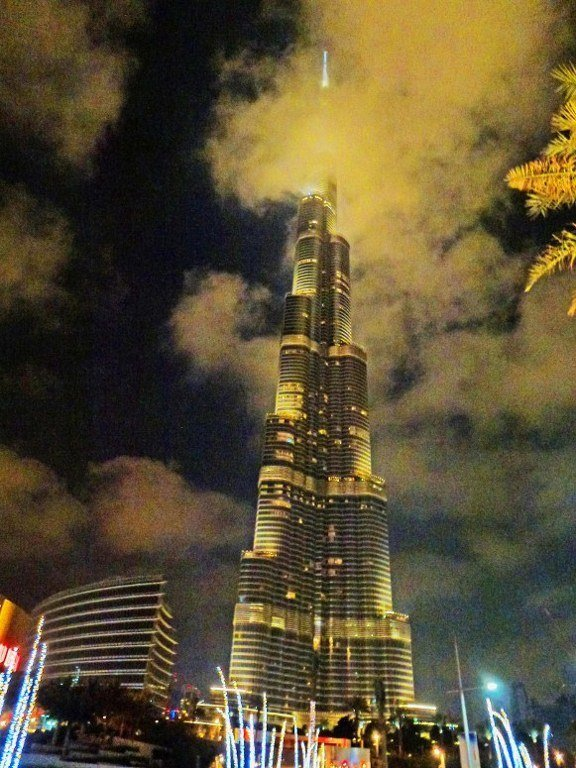 Burj Khalifa night in clouds