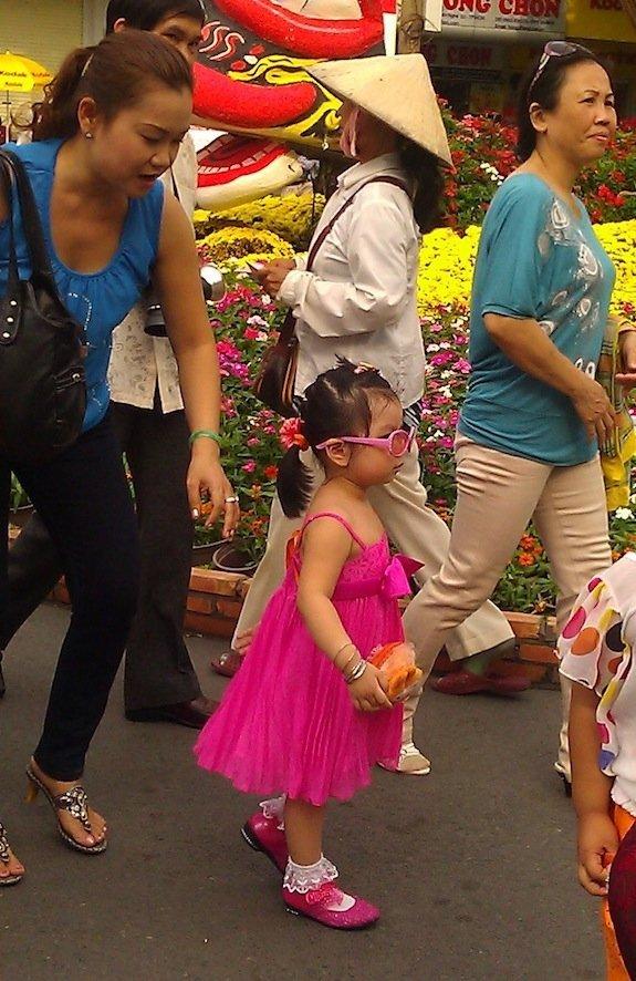 Nguyen Hue Flower Street-Ho Chi Minh City-Sassy little girl