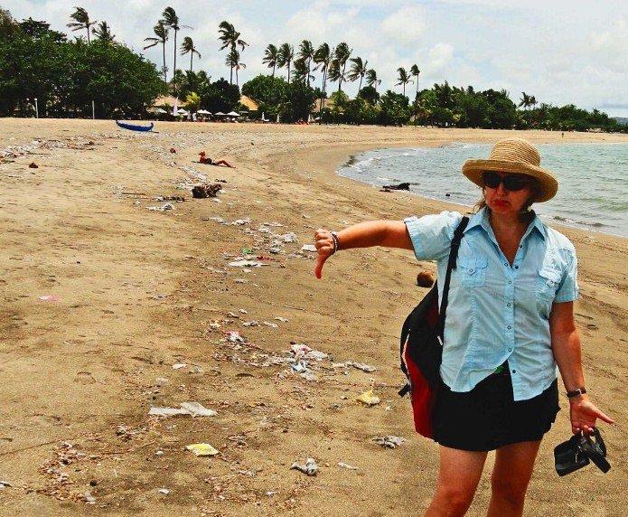 bali beach trash season dirty