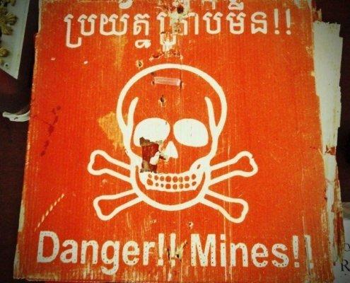 Landmine danger sign-cambodia