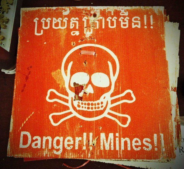 minefield warning sign