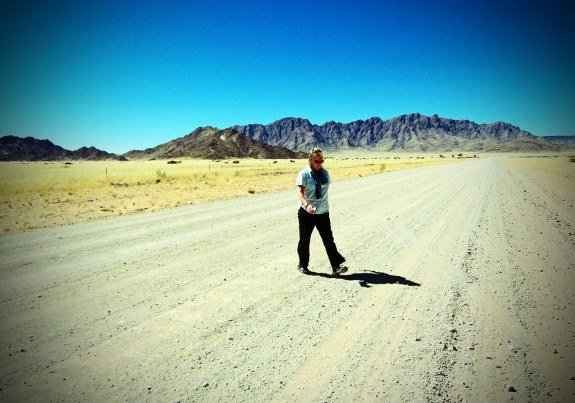 Larissa crossing road Namibia (575x403)