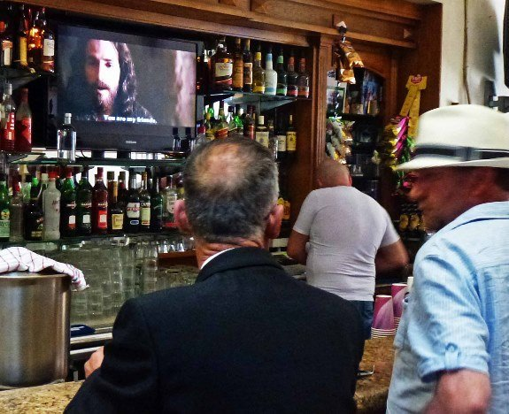 Malta Good Friday procession bar tv Jesus movie-Changes in Longitude