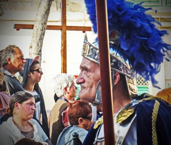 Malta Good Friday procession- old roman centurion, blue-Changes in Longitude