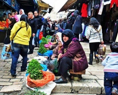 Street vendor selling herbs in Jerusalem muslim quarter