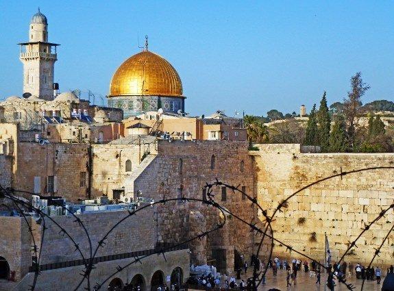 Jerusalem Western Wall barbed wire