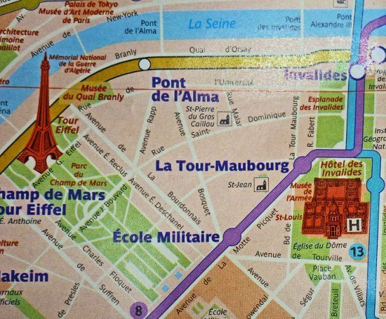 Paris Metro map PDF avec rues with streets