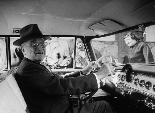 harry truman driving car