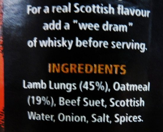 Haggis ingredients