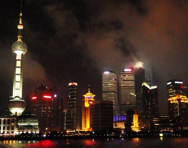 Shanghai skyline night pudong