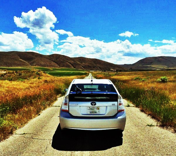 road trip car driving in wyoming