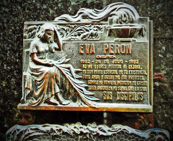 Buenos Aires Recoleta cemetery evita plaque