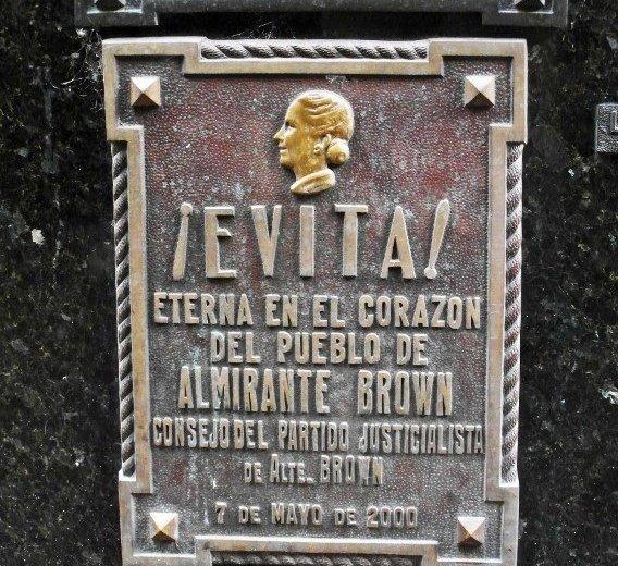 Recoleta cemetery evita plaque