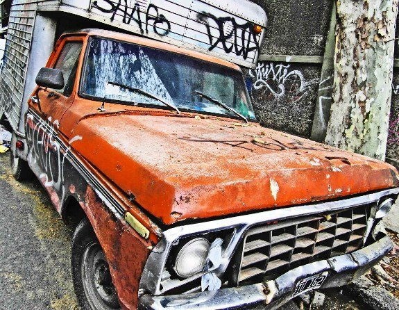Vintage cars Buenos Aires orange pickup truck (575x446)