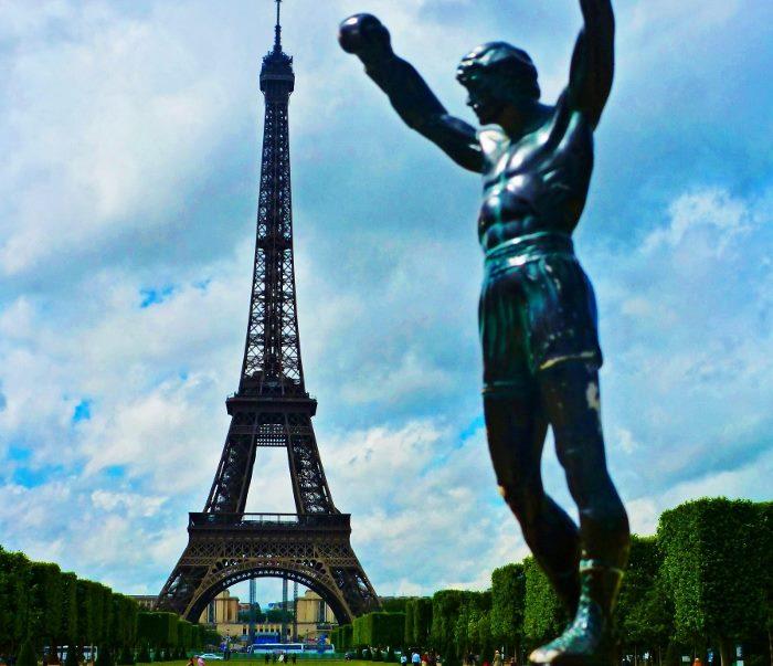 rocky statue eiffel tower