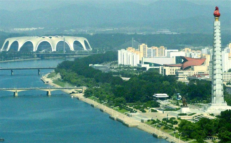 Rungrado Stadium over skyline: extreme sights Pyongyang-Milne