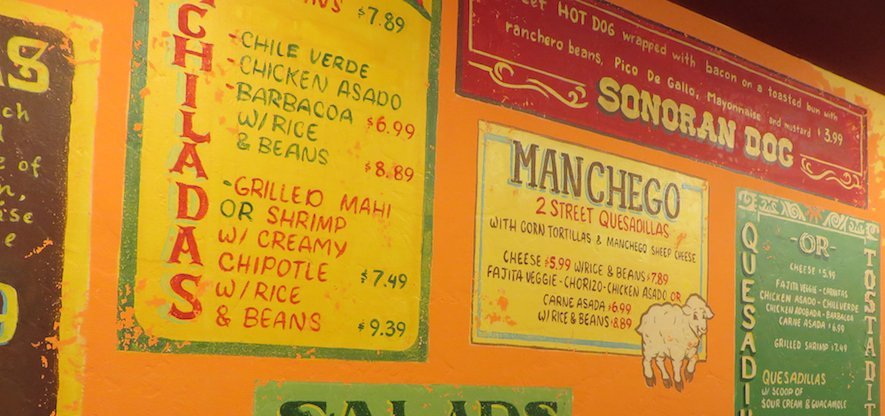 Sonoran hot dog menu
