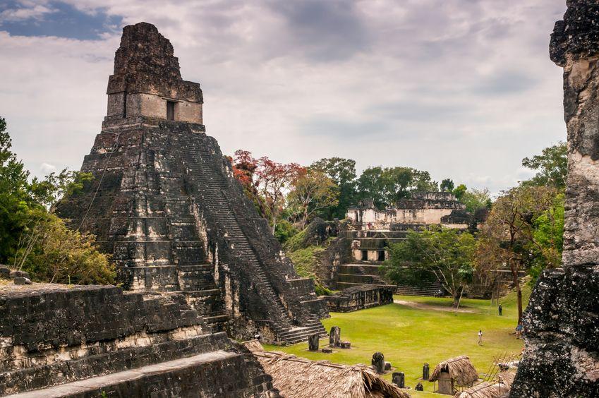 Mayan ruins tikal main plaza