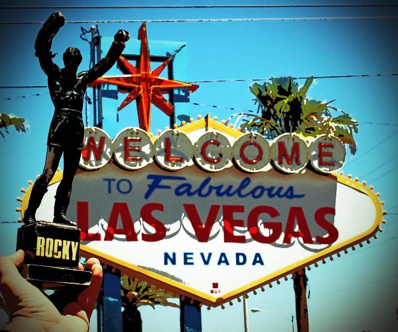 Las Vegas sign rocky statue