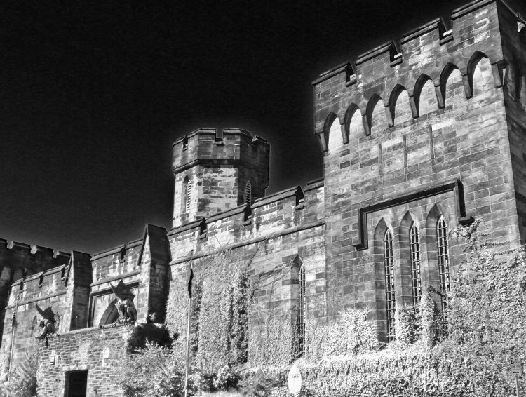 Eastern State Penitentiary in Philadelphia exterior black and white