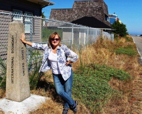 Larissa at the border of Canada & Point Roberts Washington