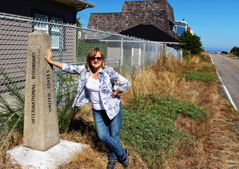 Larissa at the border of Canada & Point Roberts Washington