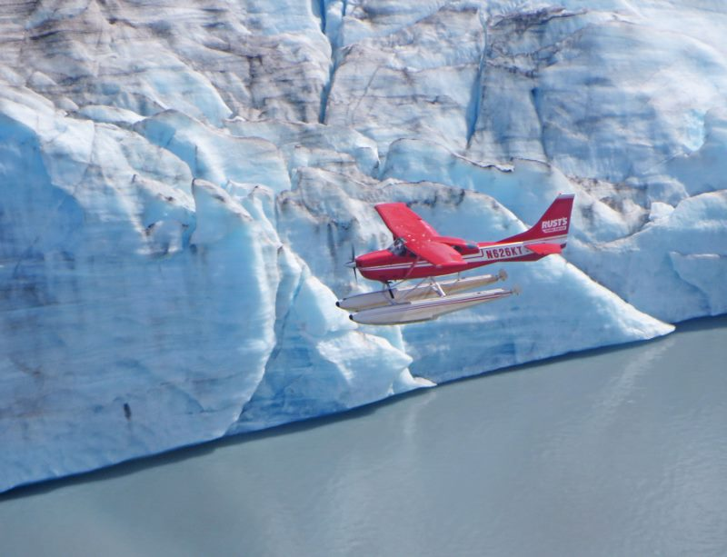 Rust's flight over glacier in Alaska