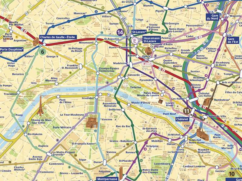 Screen shot of Paris Metro map ave rues