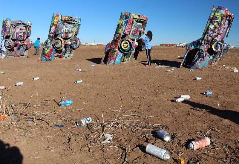 Amarillo Cadillac Ranch paint cans