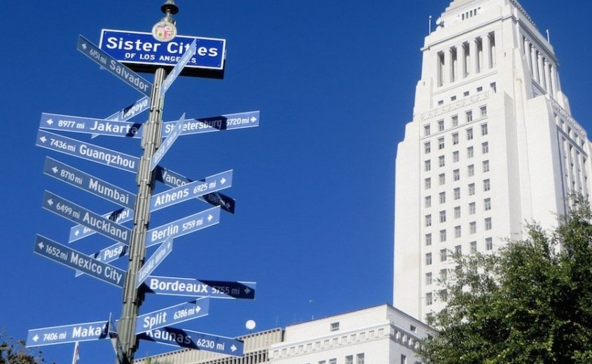 Downtown LA-City hall tower and signposts