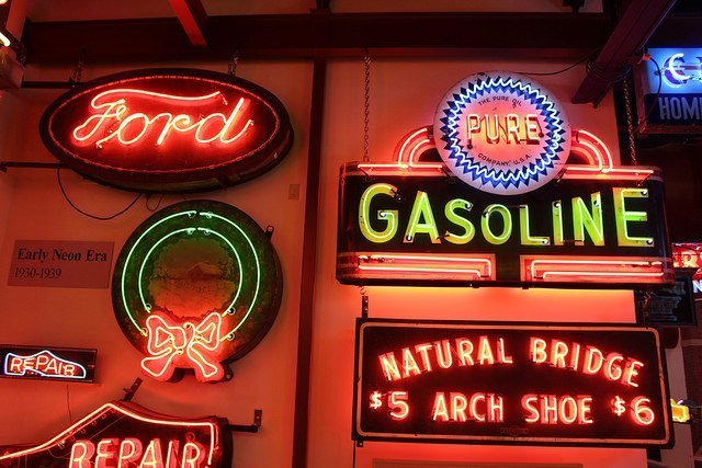 vintage neon signs Ford gasoline