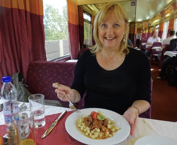 Dining on a European train Prague to Budapest