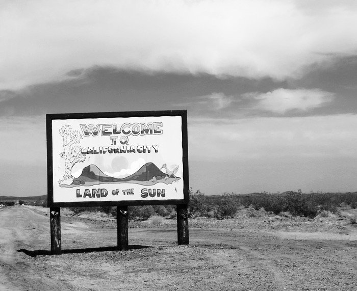 California City ghost town welcome sign