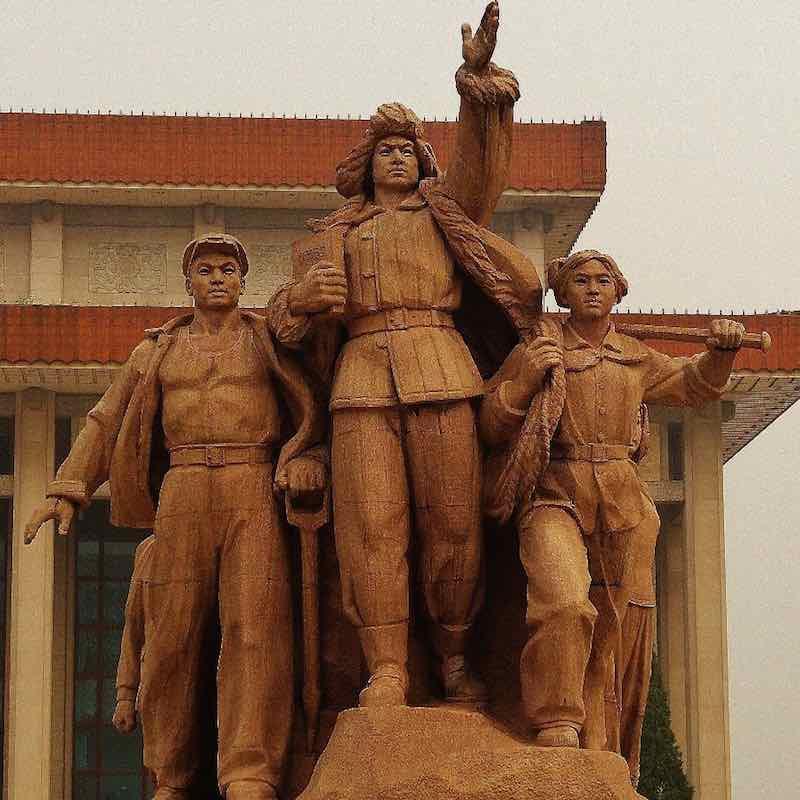 statues mao tomb mausoleum beijing