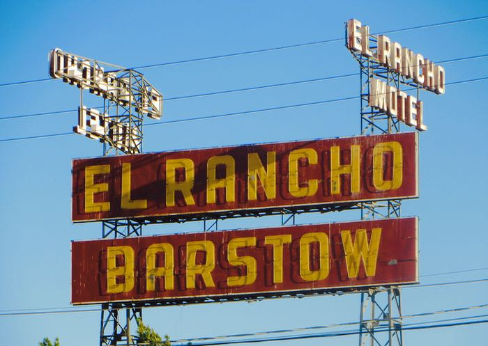 Route 66 El Rancho Motel sign Barstow California